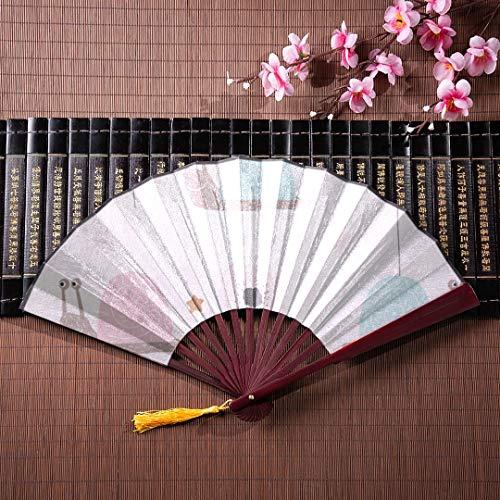 AGIRL Hand Fan süße Schnecken und Muscheln mit Bambus Rahmen Quaste Anhänger und Stoffbeutel japanische Hand Fan Vintage Hand Fan große Handfächer -