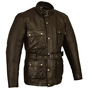 Trailmaster Classic Vintage BROWN Motorcycle Waxed Age Treated Leather Jacket Med M by Australian Bikers Gear