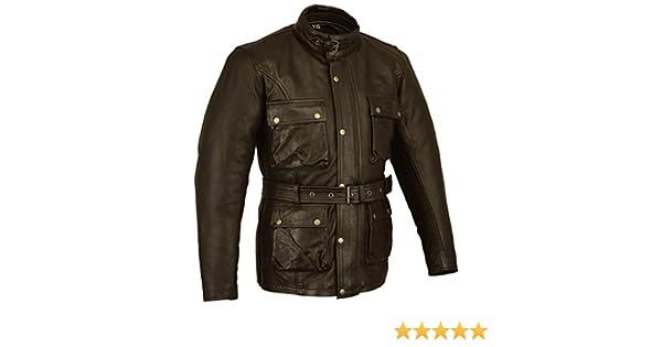 Noir Bikers Gear Classique Vintage Trail Blazer CE1621-1 PU Armour Moto Cir/é et Vieilli Veste en Cuir Trait/é 6XL