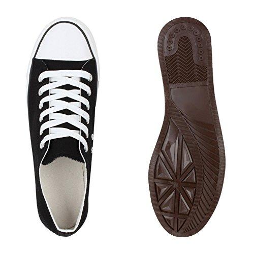 Herren Sneakers Low Canvas Schuhe Profilsohle Turnschuhe Schwarz Weiss
