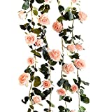 Butterme 1PCS 6 FT gefälschte Rosen Rebe Blumen Anlagen künstliche Blumen Haupthotel Büro Hochzeitsfest Garten Fertigkeit Kunst Dekor Rosa