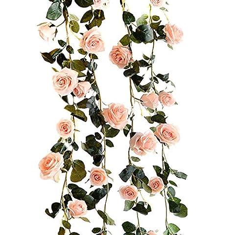 TININNA 180cm Fait à la Main Rose Artificielle Lierre Guirlande Feuille Garland Fleurs Pour Décoration Maison Jardin Mariage Fenetre Rose