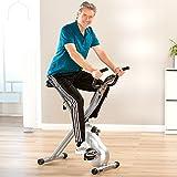 Fahrrad-Heimtrainer X-Bike Fitnessbike, mit Trainingscomputer und Handpulssensoren, klappbar, belastbar bis 100kg, Silber - 7