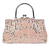 womens soirée sac perles sequin conception en métal cadre embrasser lock satin pochette sacs. 24 x 22 cm . pink . one size