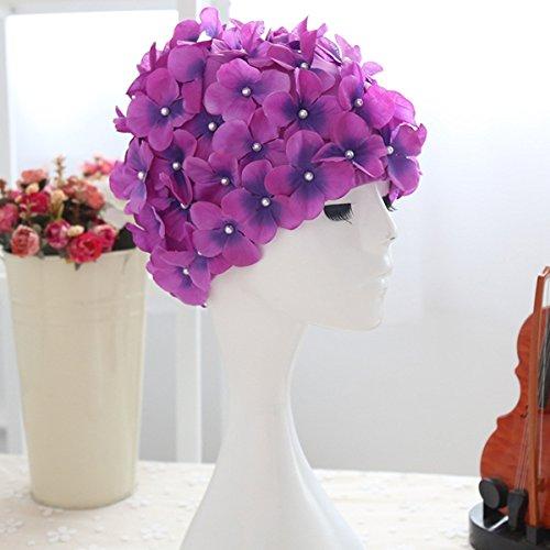 Bonnet de natation Bonnet de bain Tinksky Floral Petal Stylish Baths Cap de taille L pour femme (Violet)