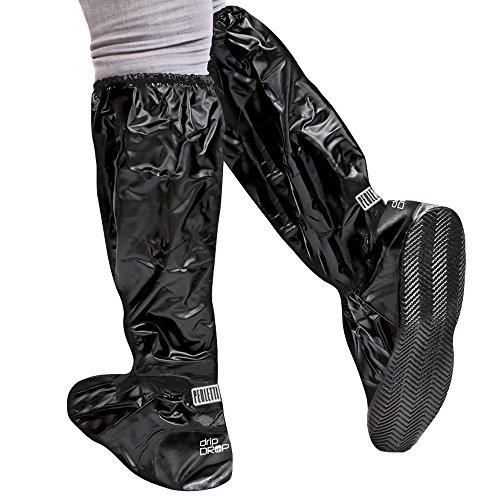 Cubrecalzado Impermeable de PVC - Resistente y Reutilizable - con Suela Antideslizante - galochas para Lluvia, Nieve y Fango - Modelo Alto - Negro (S (36-39), Negro)