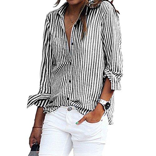 N.Life Nlife Frauen-Art- und Weisebeiläufige Gestreifte Knopf-Taschen-Lange Hülsen-Hemd-Blusen-Oberseite … (Gestreifte Button-up-shirt)