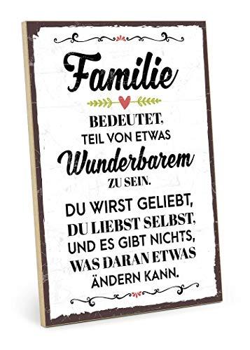 Typestoff Holzschild Mit Spruch Familie Bedeutet Teil Von