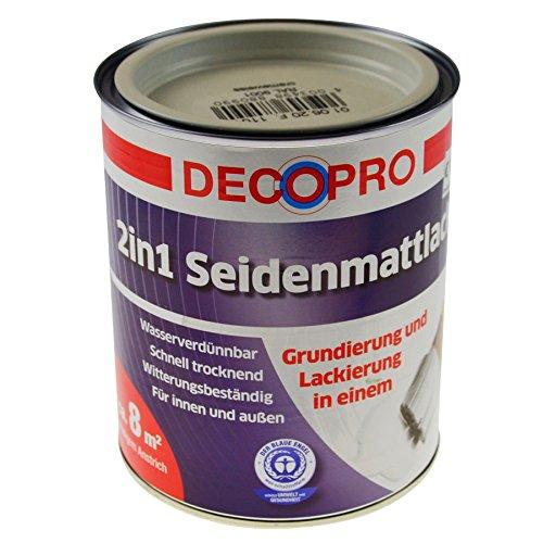 DecoPro Acryl Buntlack 750ml cremeweiß RAL9001 seidenglänzend Innen Außen Lackfarbe (Außen Lackfarbe)