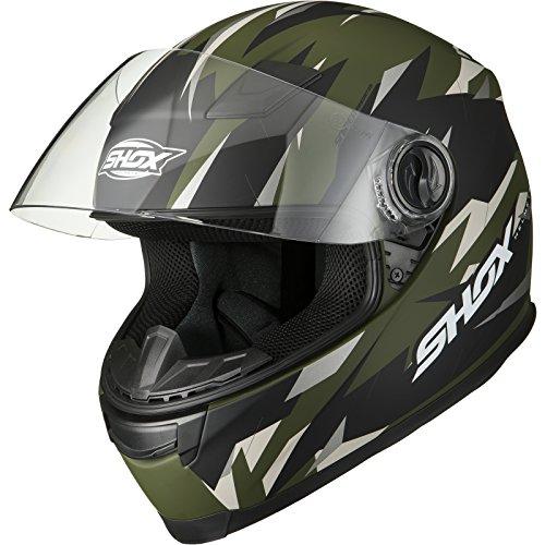 Shox Sniper Predator Motorrad Helm L Matt Grün