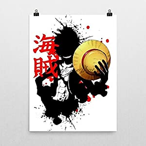 The pirate King Luffy One Piece anime Poster by Geek me that (Kanji for Pirate)