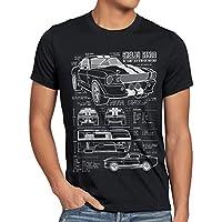 style3 GT 500 Cianografia T-shirt da uomo mustang