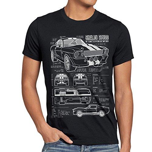 style3 GT 500 Cianografia T-shirt da uomo mustang, Dimensione:M;Colore:Nero