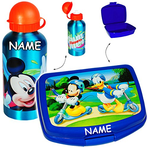 alles-meine GmbH 2 TLG. Set _ Lunchbox / Brotdose + Trinkflasche -  Disney - Mickey Mouse & Donald Duck  - inkl. Name - Superleicht - Alutrinkflasche - 500 ml - Brotbüchse K..