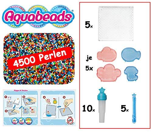 Aquabeads - XXL Party-Set mit 4500 Perlen, 5 Bastelplatten, 20 Formplatten, 5 Perlenstiften, 10 Sprühflaschen auch als Refill/Nachfüllung