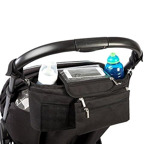 Panier de rangement BTR pour poussette, sacoche pour landau/poussette avec poche à fermeture éclair et porte-monnaie