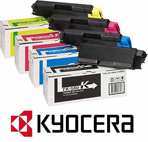 Preisvergleich Produktbild 4 x Original Toner Kyocera/Mita FS-C5150DN / ECOSYS P6021cdn (TK-580 K / 1T02KT0NL0 / TK-580 C 1T02KTCNL0 / TK-580 M / 1T02KTBNL0 / TK-580 Y / 1T02KTANL0) / - original Toner Set / schwarz 3.500 Seiten / cyan magenta gelb je 2.800 Seiten PRIME