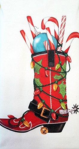 Mary Lake Thompson Zuckerstange Weihnachten Cowboystiefel 100% Baumwolle Mehl Sack Gericht Geschirrtuch 76,2x 76,2cm -