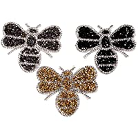 Lymocha 3 Pcs Embroidered Applique Clothes Patches Exquisite Fashion Rhinestone Bee Iron on Sewing Cloth Paste Badges DIY Clothes Coat Bag Decorative Accessories