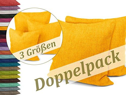 Kissenhüllen in Struktur-Optik - erhältlich in 23 modernen Farben und 3 verschiedenen Größen, Doppelpack Kissenhüllen 50 x 50 cm, gelb (Sitzkissen Rost)