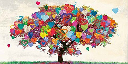 Keilrahmen-Bild - Malia Rodrigues: Tree of Love Leinwandbild Baum Liebe Herzen bunt Pop modern Collage Solitär (65x130)