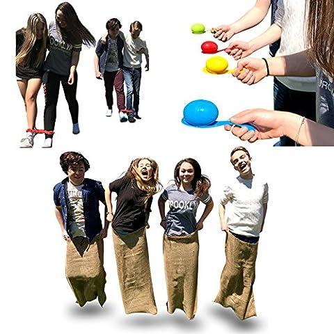 Combo de Jeux pour fête d'enfants - Sacs pour Courses de Sac de Pommes de Terre - Course à 3 Pieds et Course d'œufs et de Cuillères - Sac de transport Inclus