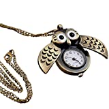 Abeillo Estilo antiguo Búho Latón Colgante de collar de reloj de bolsillo Cuarzo Enfermeras Joyería para mujer