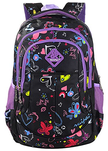 Coofit Backpacks for Girls School Bags Casual Daypacks Travel Bag (Black)