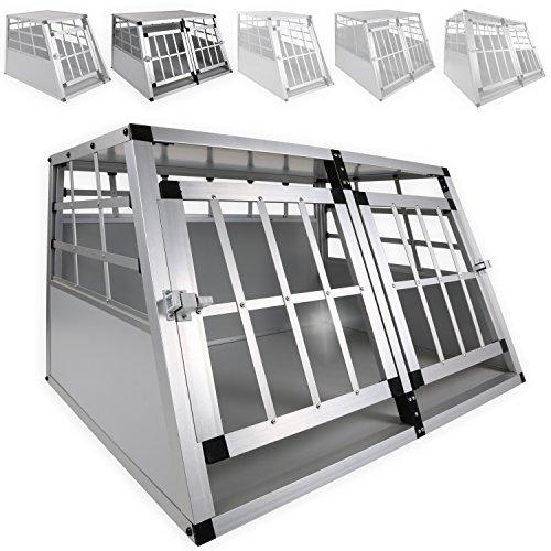 LovPet® Alu Hundebox Alubox Hundetransportbox Transportbox Reisebox Haustiere Stabil Größe: XL Doppeltüren Farbe: Grau / Silber