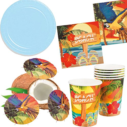 Party Set XL Hawaii Beach Ara blau 32 Teile : Teller, Becher, Servietten, Cocktail-Schirmchen