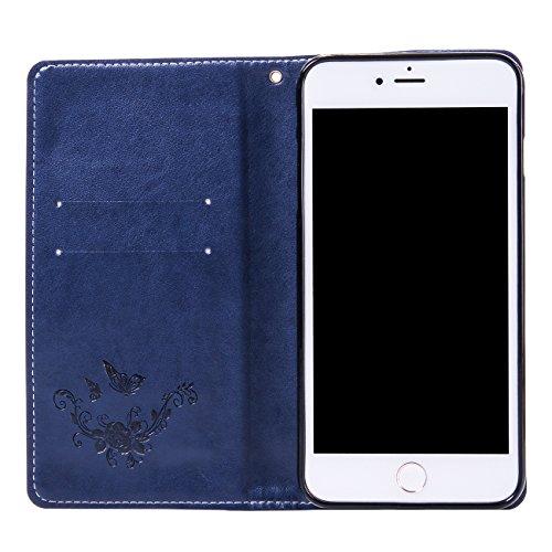"""iPhone 7 Plus Ledertasche Hülle,EVERGREENBUYING - Blumenmuster Handyhülle iPhone 7+ Aufklappbare Leder Schutzhülle im Flip Etui Cover Style Für iPhone 7 Plus 5.5"""" Blau Saphir"""