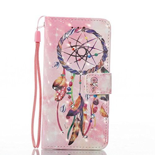 Custodia iPhone 6 Plus, Cover iPhone 6S Plus Brillantini, SainCat Custodia in Pelle Cover per iPhone 6/6S Plus, 3D Strass Diamante Bling Glitter Anti-Scratch Book Style PU Leather Case Flip Portafogli Pearl Campanula