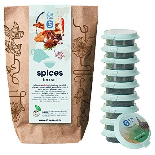 Shuyao Spices Tea Set 15x loser naturreiner Tee mit Gewürzen (45g) (Tee Arabische Minze)