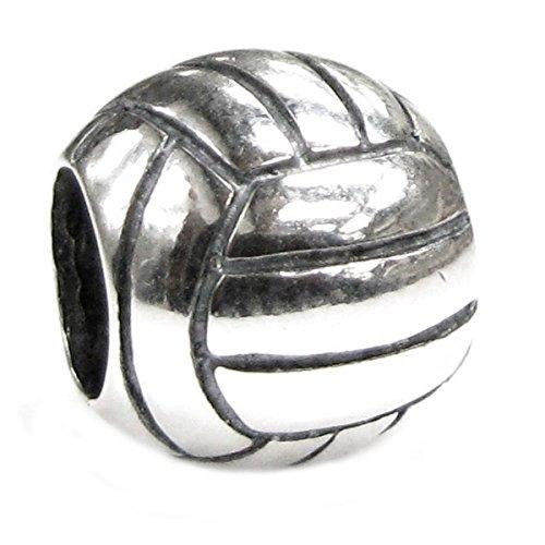 Queenberry, charm in argento Sterling, a forma di pallone da pallavolo - Live Love Laugh Bracciale