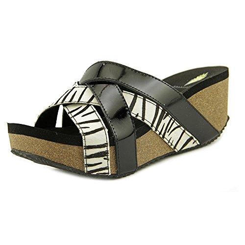 Volatile Satine Femmes Cuir Sandales Compensés Black-White-Zebra