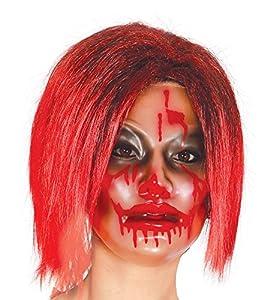 FIESTAS GUIRCA Mujer Transparente de plástico máscara sangrienta, con Sangre