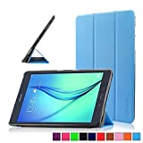 Infiland Samsung Galaxy tab A 9.7 Funda Case-Ultra Delgada Tri-Fold Smart Case Cover PU Cuero Smart Cascara con Soporte para Samsung Galaxy Tab A 9.7 T550N/ T555N 24,6 cm WiFi/LTE Tablet-PC (9,7 pulgadas) (con Auto Reposo / Activación Función)(Azul Claro)