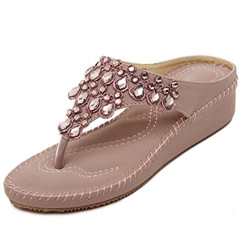 TAOFFEN Femmes Mode Compensees Sandales Clip Toe Slide Chaussures De Strass Rose