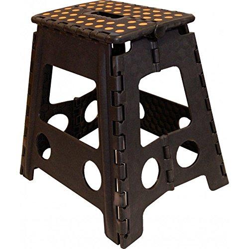 Klapphocker Tritthocker zusammenklappbarer Hocker Stufentritt Trittstufe Klapptritt groß b.150 kg Schwarz)