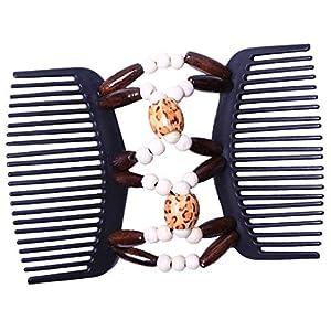Afrikanisch Haarkämme Magie Perlen Doppel Haarkamm Clip Dehnbar Doppelkamm Clips Stretch Hairclip Haarspange für Jede Art von Haar