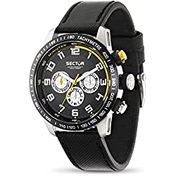 Sector Men's Quartz Watch with Black Dial Analogue Display and Black Leather Strap R3251575001