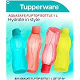 Tupperware Aquasafe Flip Top Bottle 1 L each, Set of 4 by Tupperware