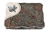 MEMORUM Grabmale Grabplatte, Grabstein, Grabkissen, Urnengrabstein, Liegegrabstein Modell Folio 40 x 30 x 5 cm Paradiso-Granit, Poliert inkl. Gravur (Aluminium-Ornament Rose 3)