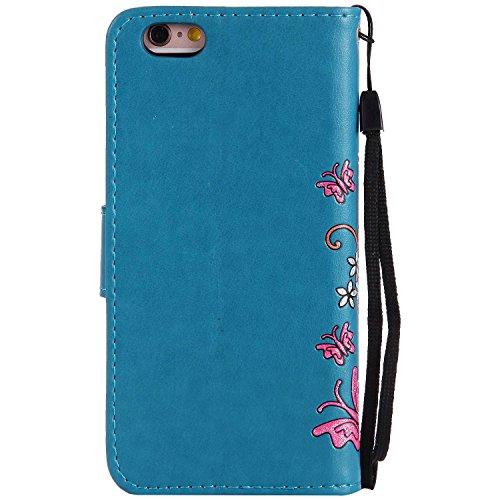 iPhone 5s/SE Ledertasche Hülle,EVERGREENBUYING - Blumenmuster Handyhülle iPhone SE Aufklappbare Leder Schutzhülle im Flip Etui Cover Style Für iPhone 5/5s/iPhone SE Tadelloses Grün Blau