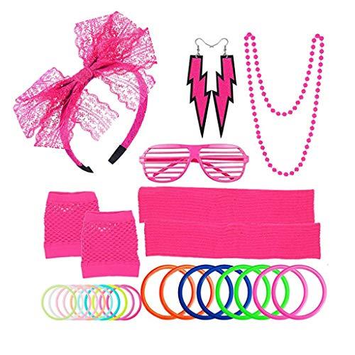 WDTong Womens Cosplay Party Kostüm Outfit Set, Gehören Stirnband Ohrringe Handschuhe Brille Armbänder