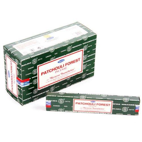 Original Satya Sai Insence Patchouli Wald Nag Champa Räucherstäbchen, 15 g, 12 Packungen