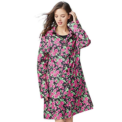 Fashion Big Flower Red Rose Tide Raincoat In The Long Paragraph Female Models Ladies Waterproof Clothing Play Water Jacket Travel Soft Thin