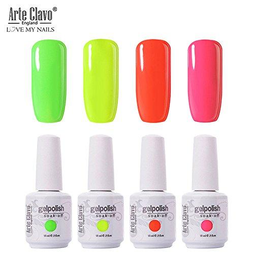 Arte Clavo Lot de 4 vernis à ongles gel UV LED 15 ml Couleurs fluo pastel pour manucure pédicure, idéal pour utilisation à domicile, dans les salons de beauté, etc