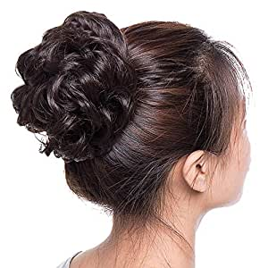 D-DIVINE Synthetic Hair Bun Extension Artificial Juda For Women And Girls, 35 Gram, Natural Brown, Pack Of 1