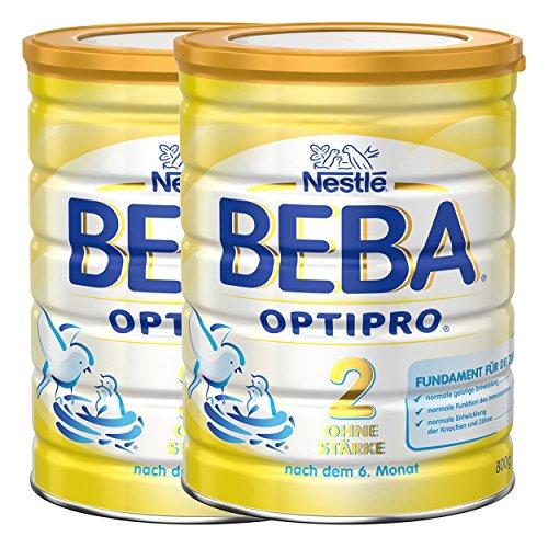 Nestlé BEBA Optipro 2 ohne Stärke, Säugling Milch, Babynahrung, Folgemilch, Glutenfrei, Dose, 2 x 800 g, 12306949